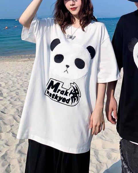 《3色》オーバーサイズパンダフェイスTシャツの画像1